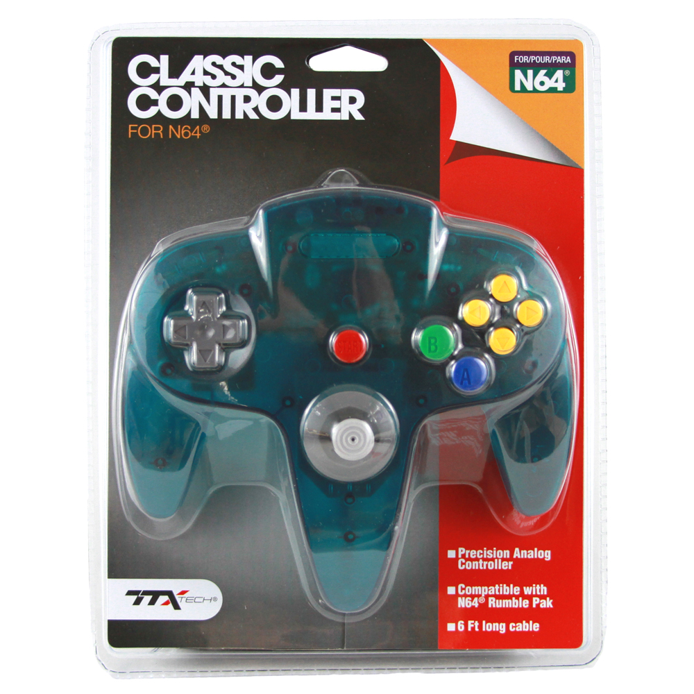 "Packshot for ""N64 Classic Contr. Clear Teal TTX"""