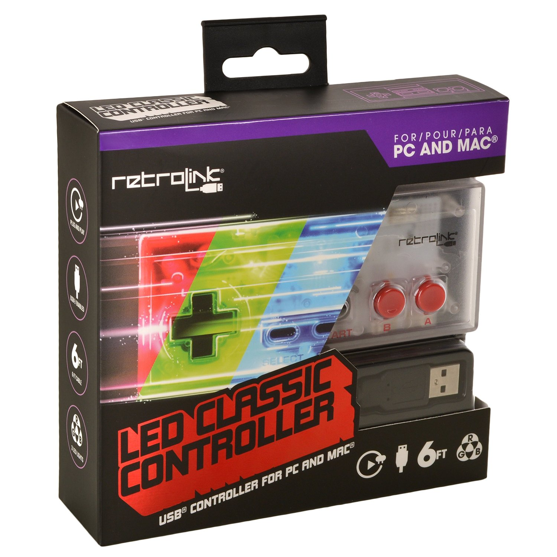 NES Controller USB Blue/Red/Gr. LED