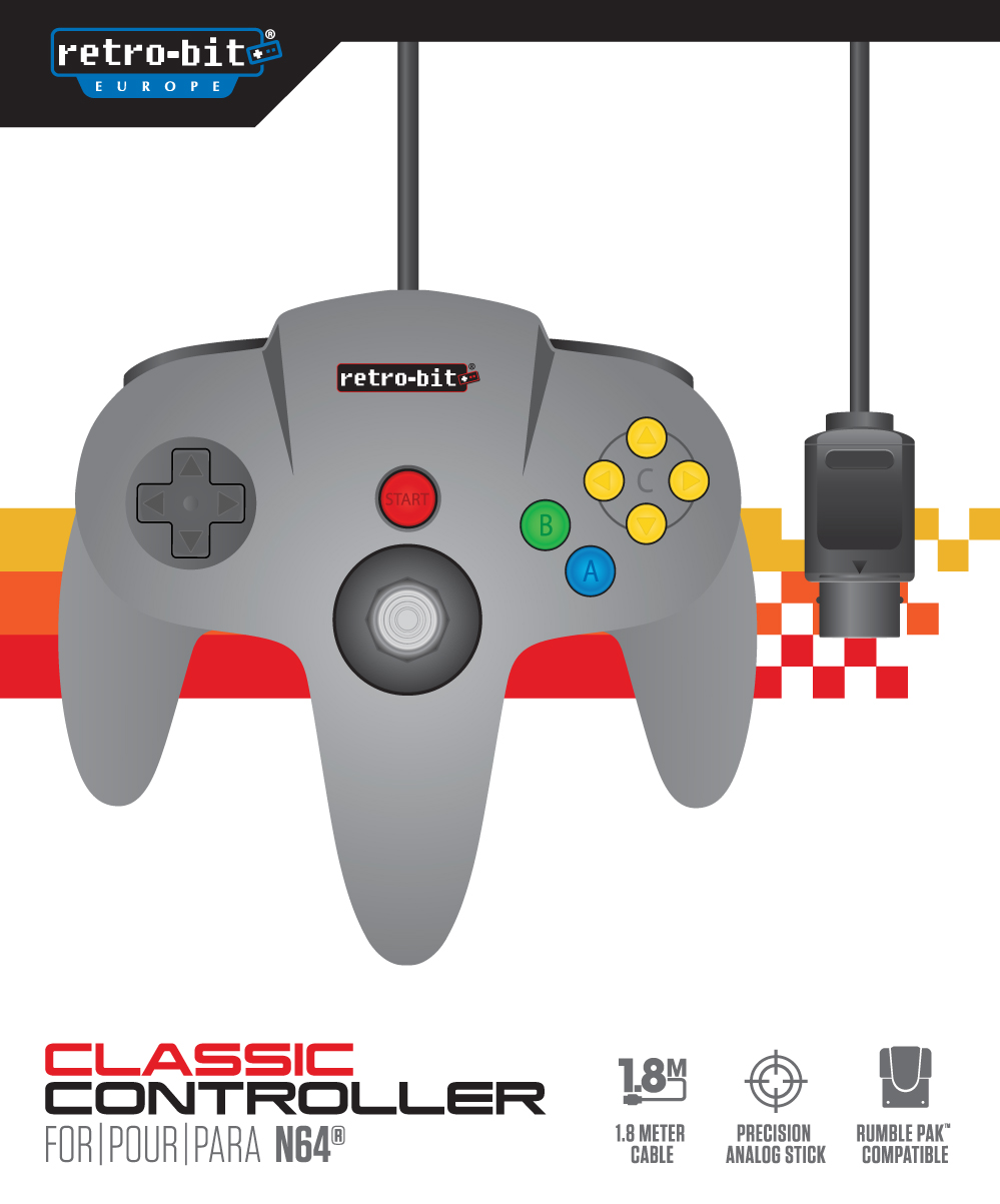 "Packshot for ""Retro-Bit Classic 64-Bit Cont. Grey"""