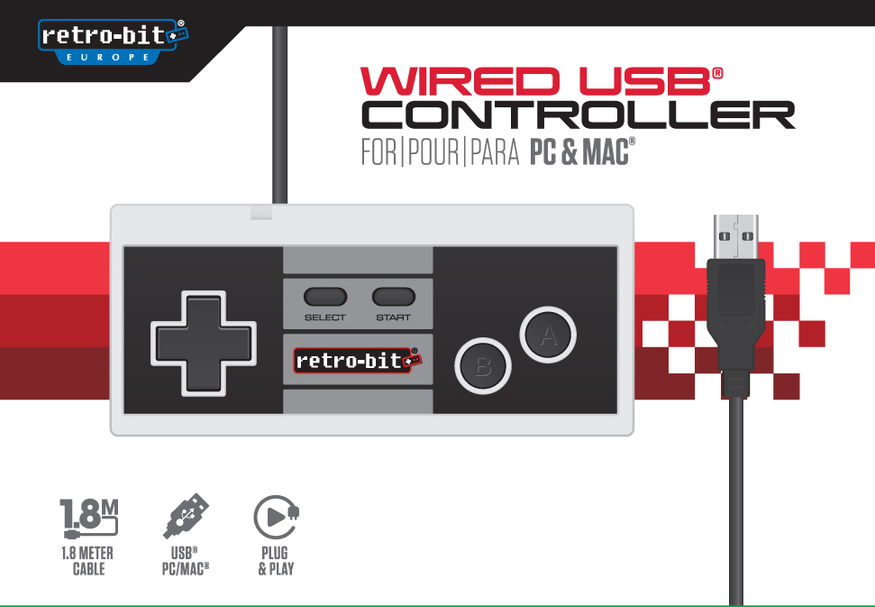 "Packshot for ""Retro-Bit 8-Bit Classic Cont. USB"""