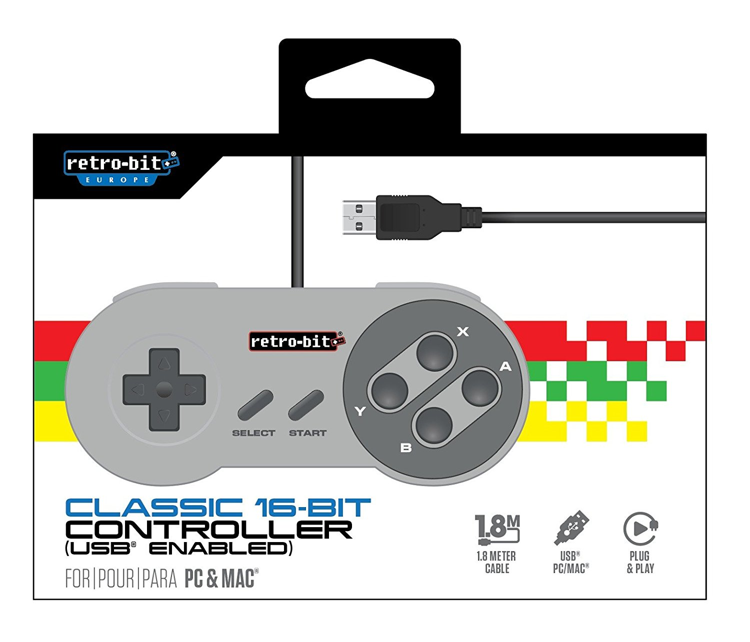 "Packshot for ""Retro-Bit Classic 16-Bit Cont. USB"""