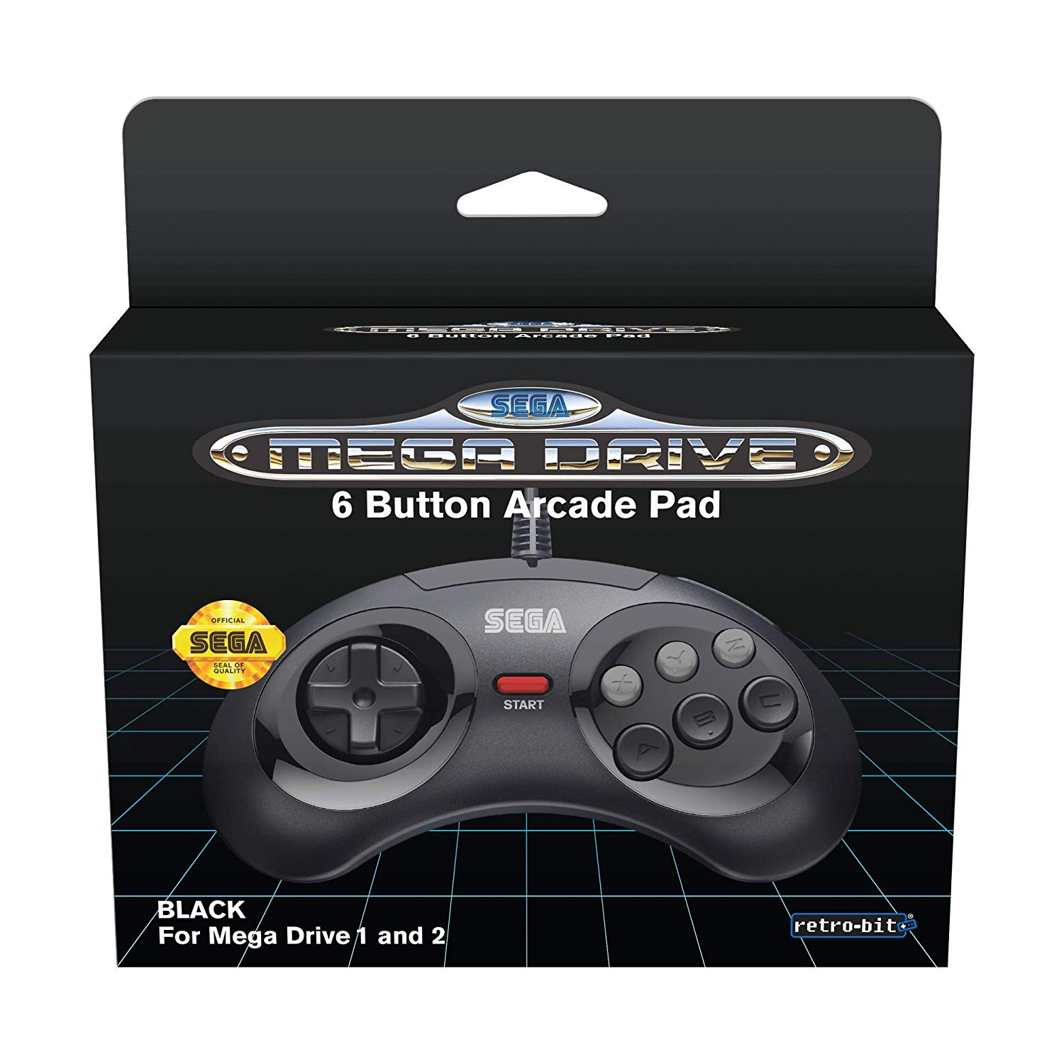 "Packshot for ""Retro-Bit SEGA MD 6-button PadBlack"""