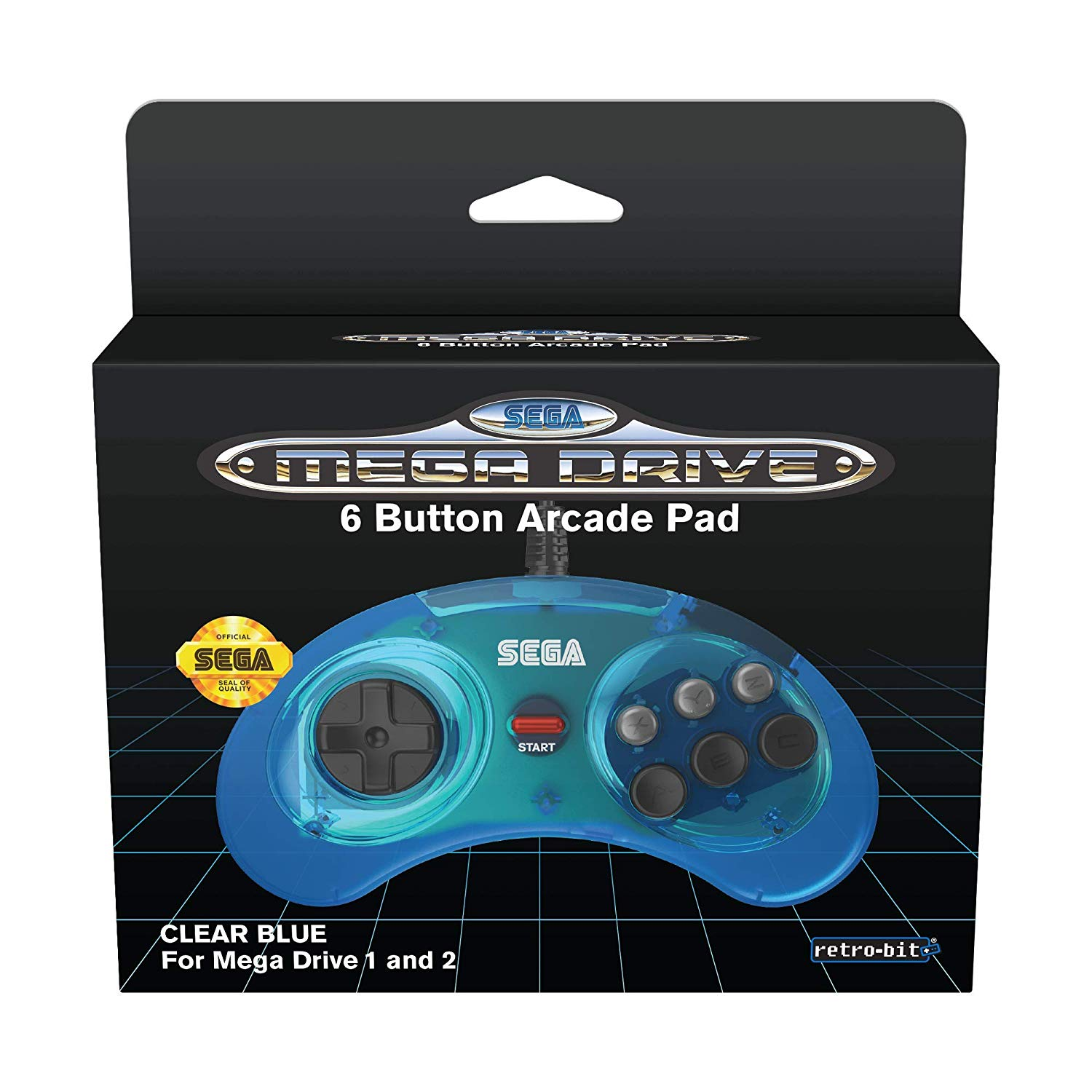 "Packshot for ""Retro-Bit SEGA MD 6-Button Pad Blue"""