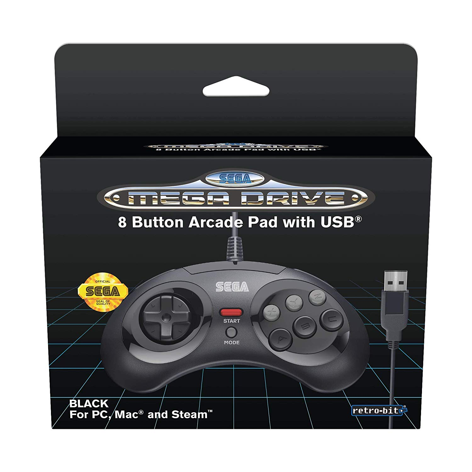 "Packshot for ""Retro-Bit SEGA MD 8-Button USBBlack"""