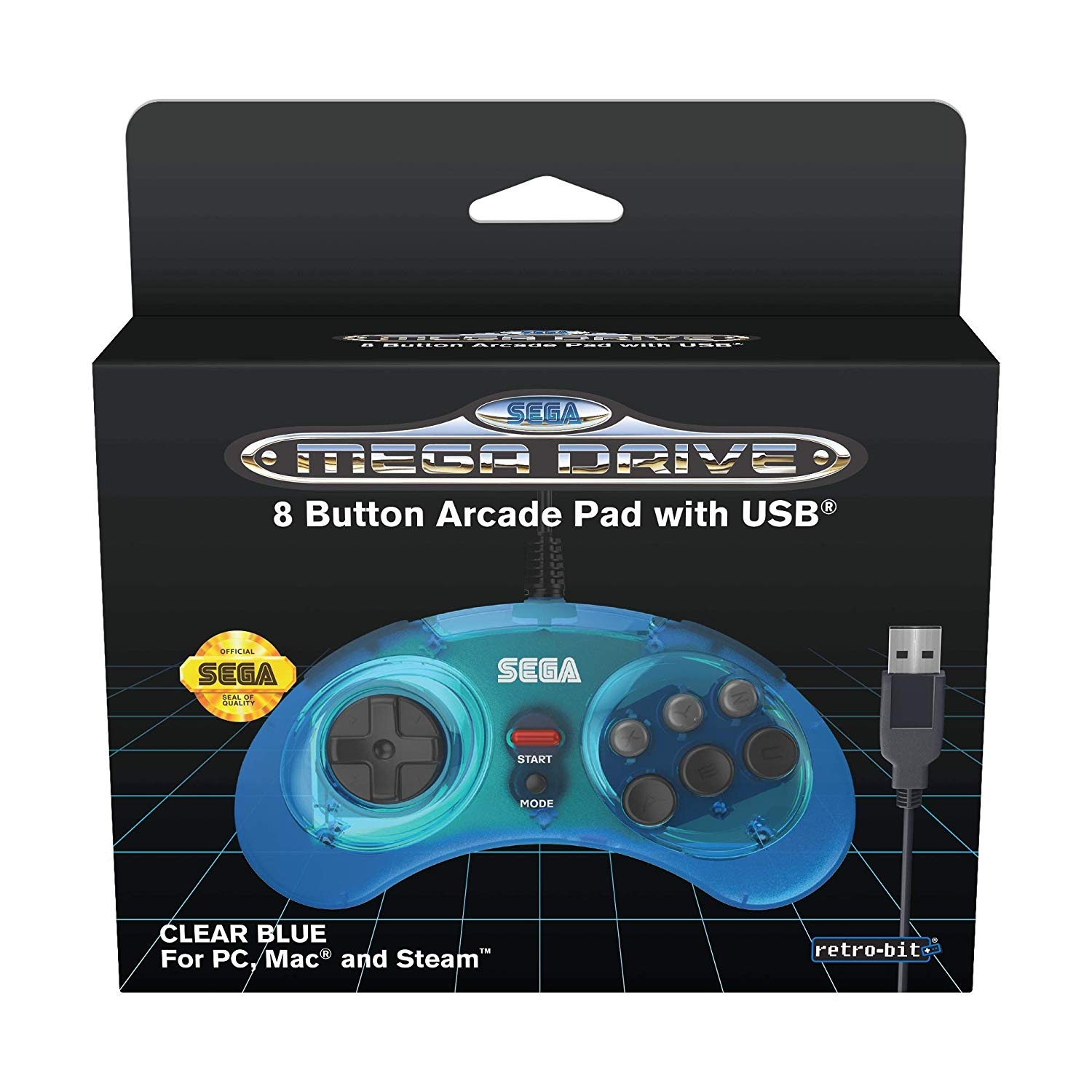 "Packshot for ""Retro-Bit SEGA MD 8-Button USB Blue"""