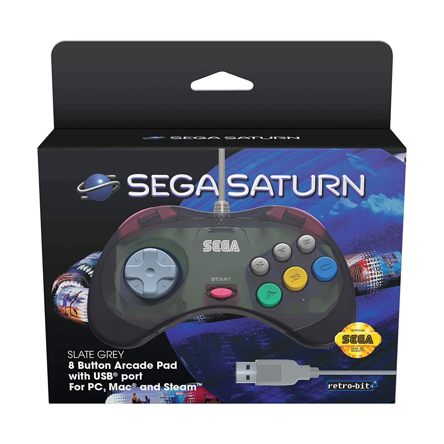 "Packshot for ""Retro-Bit SEGA Saturn USB Pad Grey"""