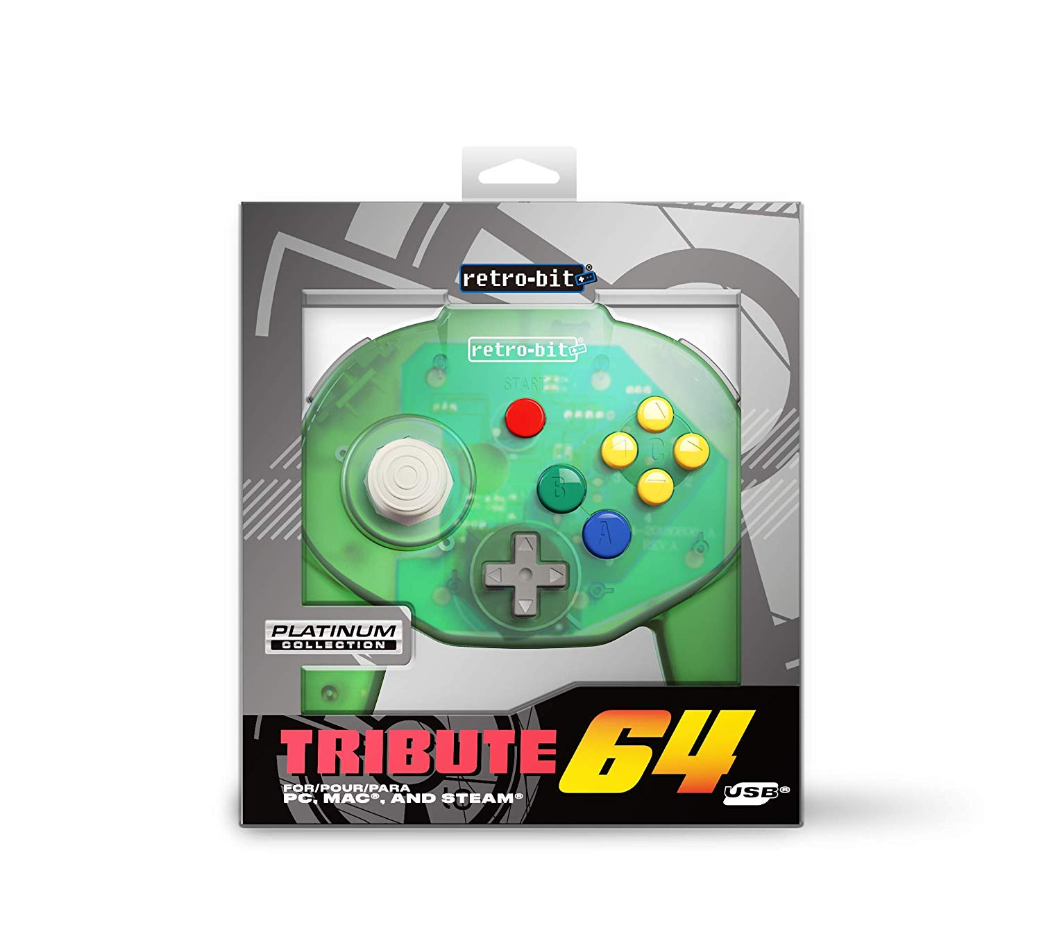 "Packshot for ""Retro-Bit Tribute 64 USB Green"""