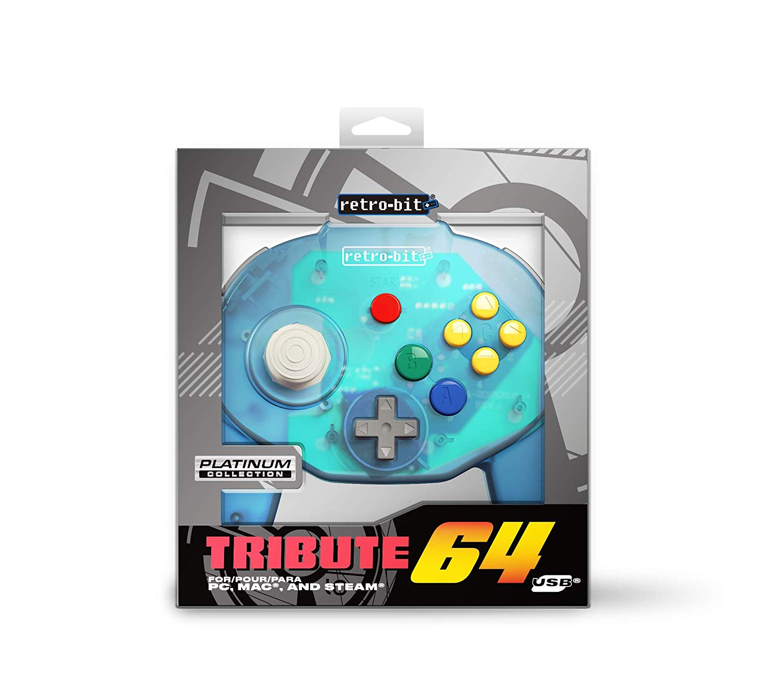 "Packshot for ""Retro-Bit Tribute 64 USB Ocean Blue"""