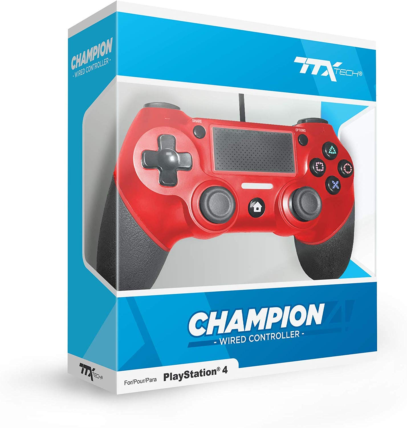TTX PS4 Champion Wired Cont. Red