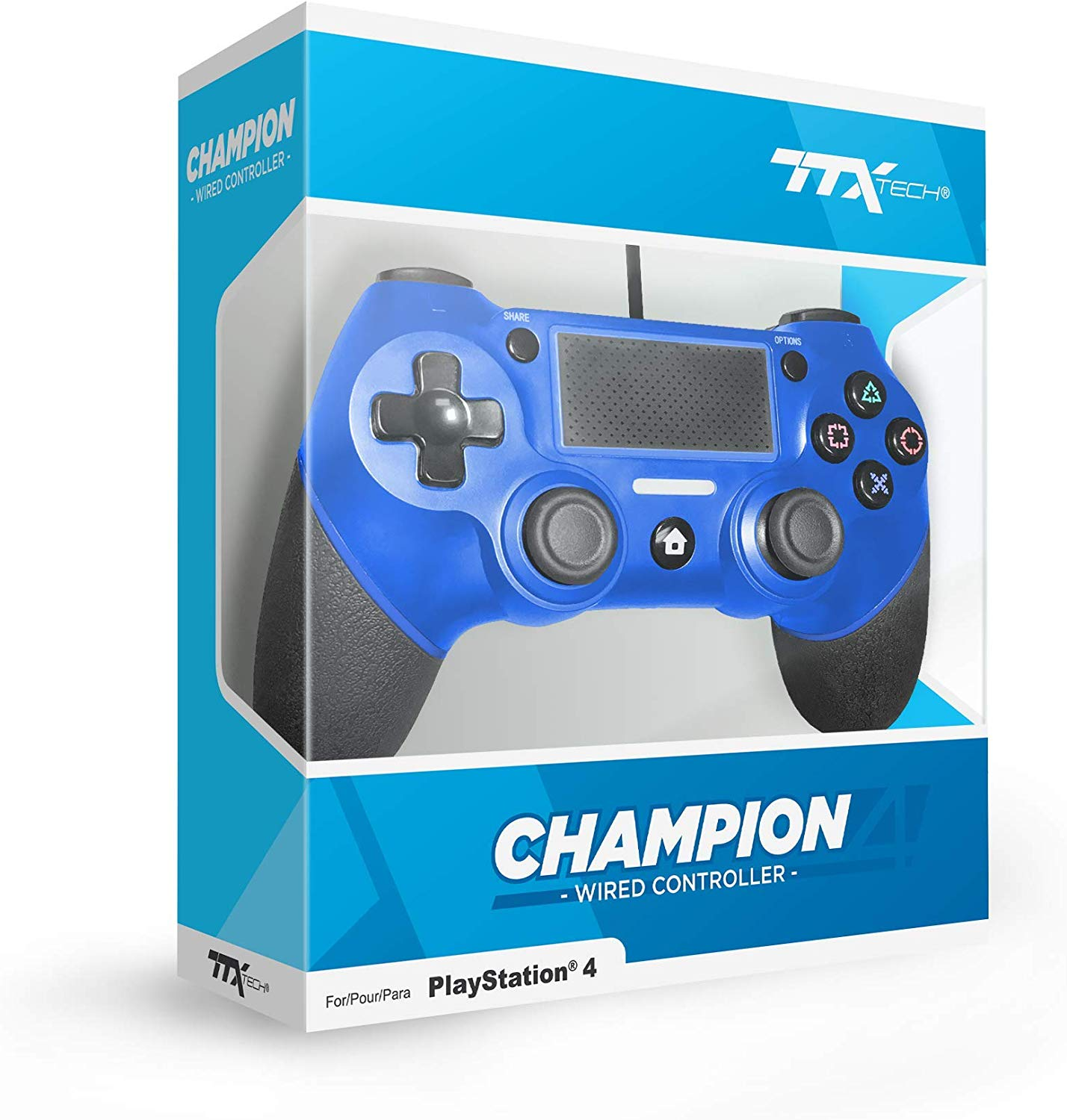 "Packshot for ""TTX PS4 Champion Wired Cont. Blue"""