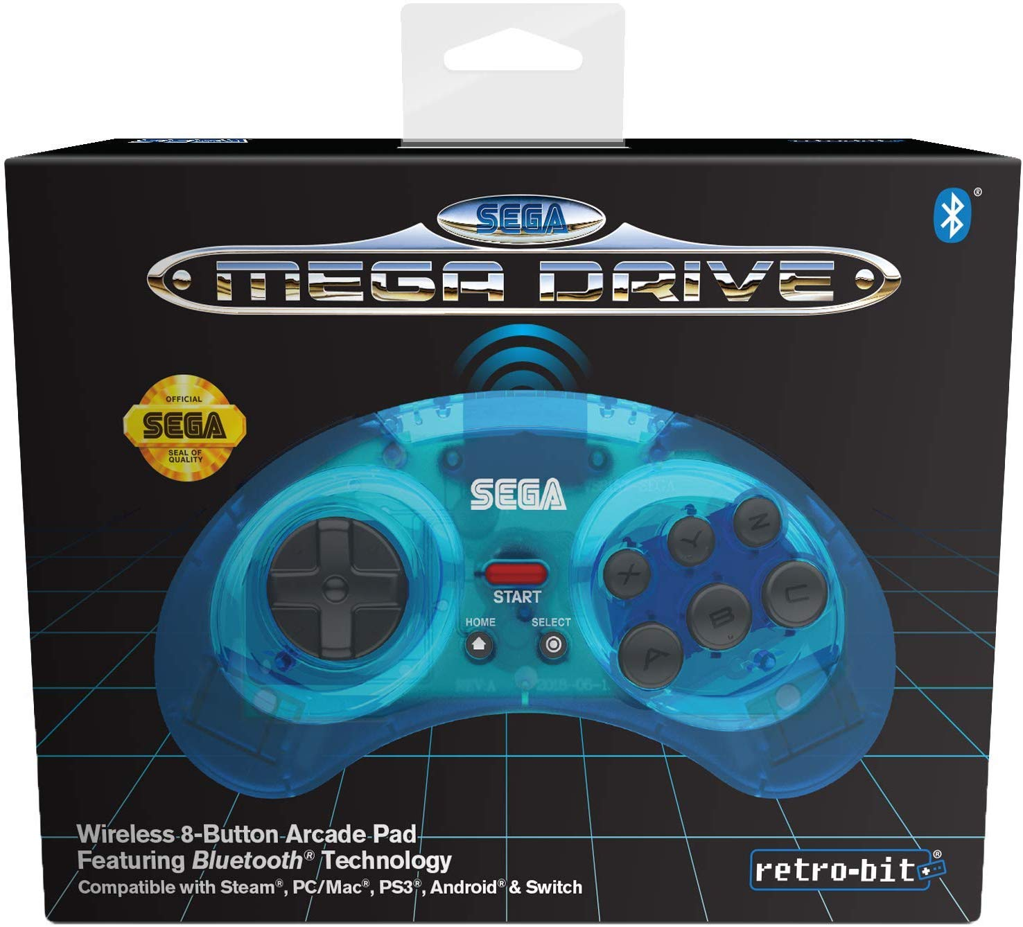 "Packshot for ""Retro-Bit SEGA MD BT Pad Blue"""